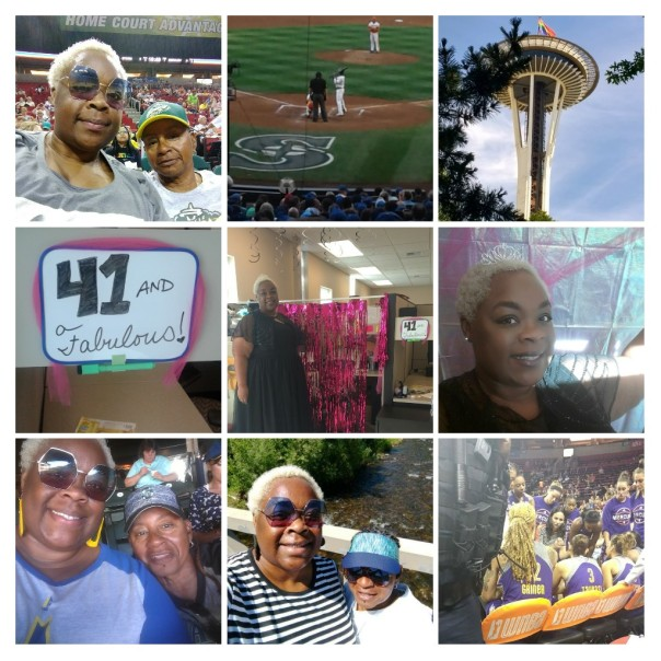 WNBA game, Mariner's game, Seattle Pride, and I wore a formal gown to work. My friends/co-workers glammed up my desk!!